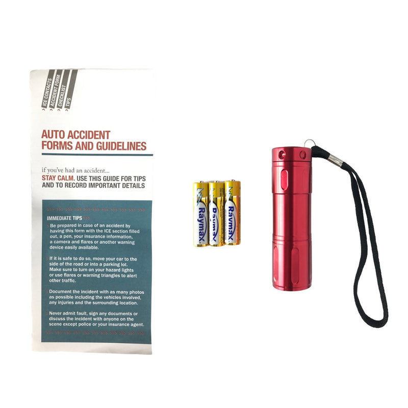 AAA Basic Roadside Emergency Kit Auto Accident Form, Flashlight + Batteries