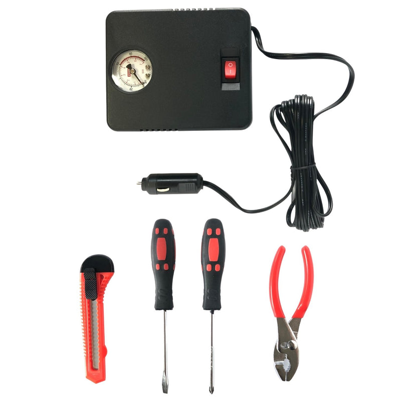 AAA Excursion Roadside Emergency Kit Air Compressor, Utility Knife, Screwdrivers + Pliers