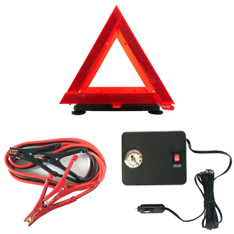 AAA Destination Roadside Emergency Kit Emergency Triangle, Jumper Cables + Air Compressor