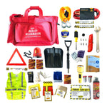 Mayday Deluxe Winter Car Emergency Kit with snow shovel, ice scraper, flashlight, lightstick, hand warmers, 54 piece first aid kit, tire fixer and more