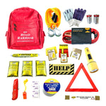 Economy Road Warrior Car Emergency Kit complete with jumper cables, tow rope, emergency drinking water, reflective triangle and more