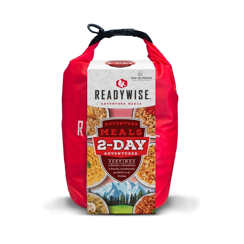 The 2 Day Adventure Bag contains 4 entrees, 2 breakfasts and 2 snacks conveniently packed in a 5 liter dry bag.