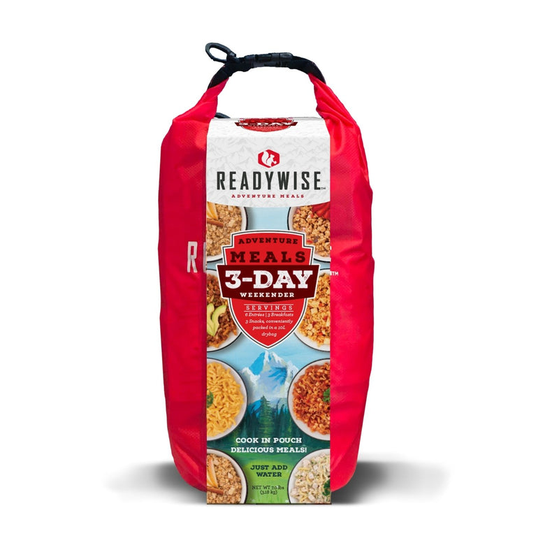 The 3 Day Adventure Bag that contains 6 entrees, 3 breakfasts and 3 snacks conveniently packed in a 10 liter dry bag
