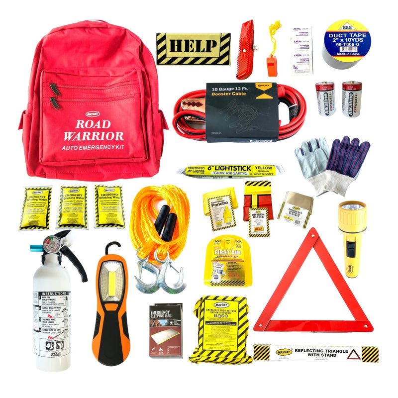 Mayday Mountain Road Warrior Car Emergency Kit with jumper cables, tow rope, duct tape, reflective triangle, fire extinguisher, hanging lamp, first aid kit and more