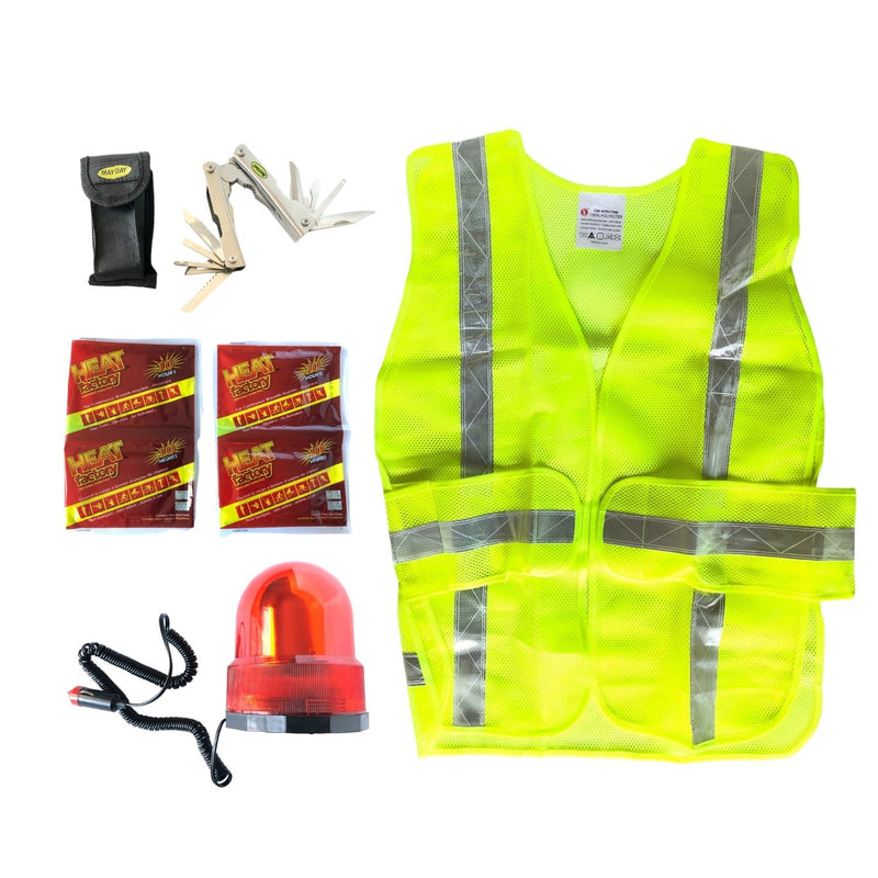 Yellow neon vest with reflective strips, red flashing safety light, hand warmers, and a multi tool