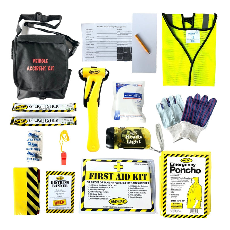 Mayday Vehicle Accident Kit with a window hammer and seat belt cutter, instant cold pack, 54 piece first aid kit, neon safety vest, accident report and pencil and much more