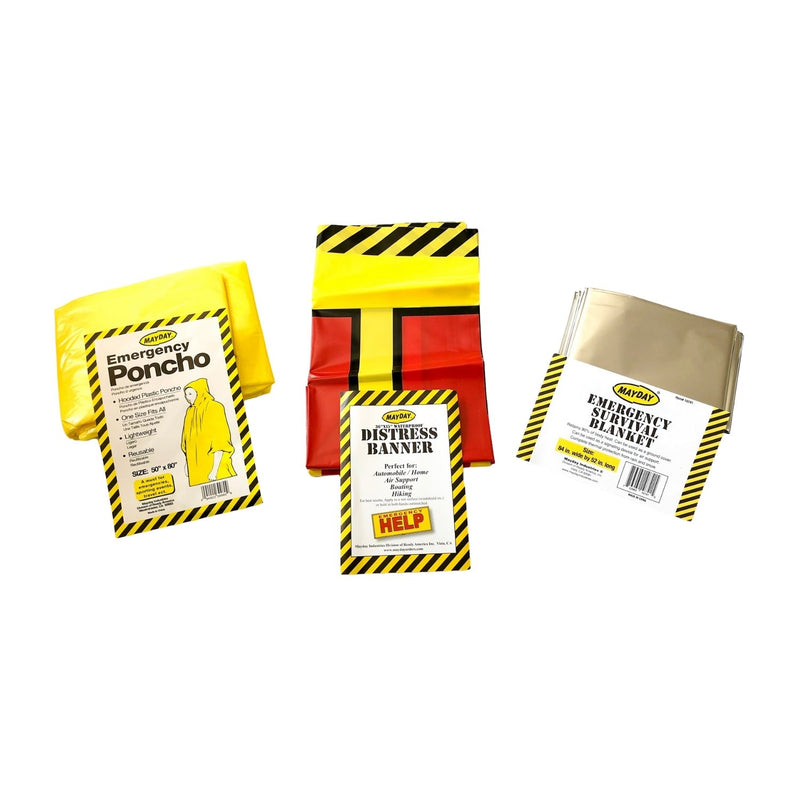 Emergency yellow waterproof poncho, Emergency Help banner, and emergency survival blanket