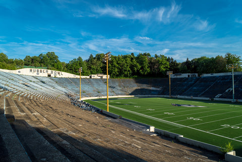 abandoned akron rubber bowl stadium decaying