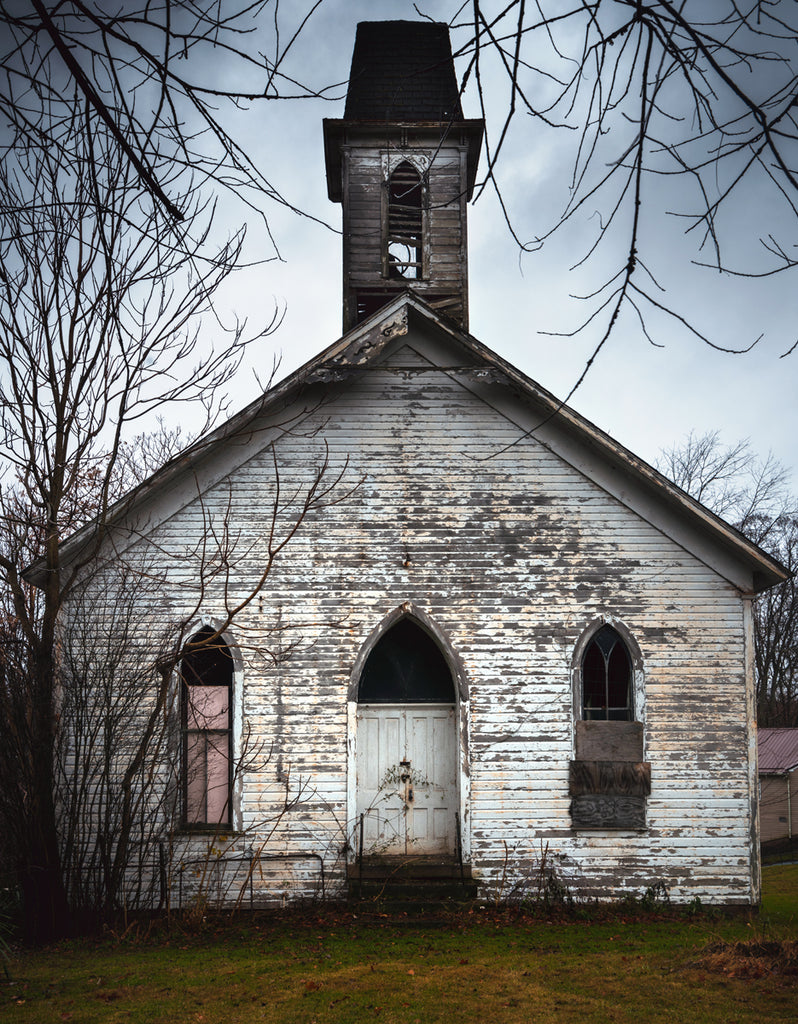 old abandoned church in ohio countryside