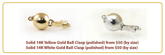 Yellow White Polished Gold Ball Clasp