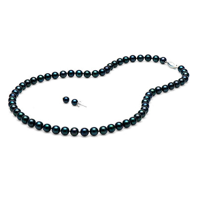 AA+ Black Akoya Necklace & Earring Set, 6.0-6.5mm