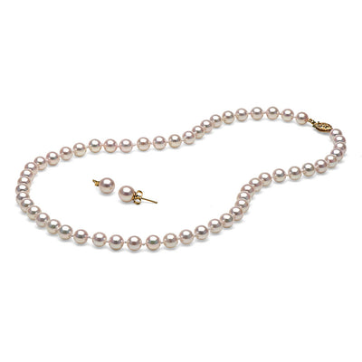 AAA White Akoya Necklace & Earring Set, 6.0-6.5mm