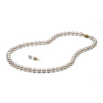 AAA White Akoya Necklace & Earring Set, 6.5-7.0mm
