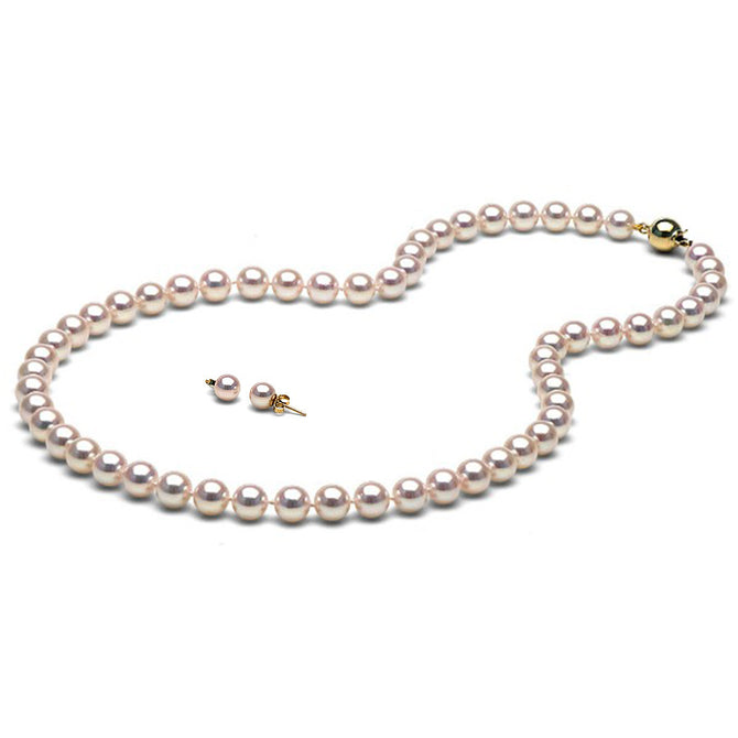 AAA Quality White Akoya Necklace & Earrings Set, 7.5-8.0mm