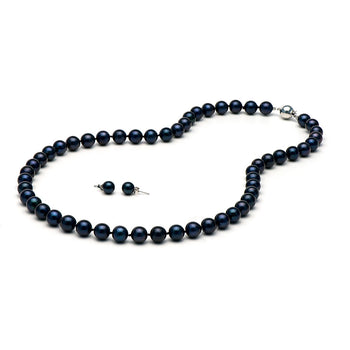 AA+ Black Akoya Necklace & Earring Set, 7.0-7.5mm