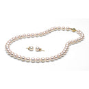 AAA Quality White Akoya Necklace & Earrings Set, 8.0-8.5mm