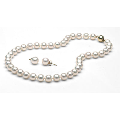 AAA Quality White Akoya Necklace & Earrings Set, 9.0-9.5mm