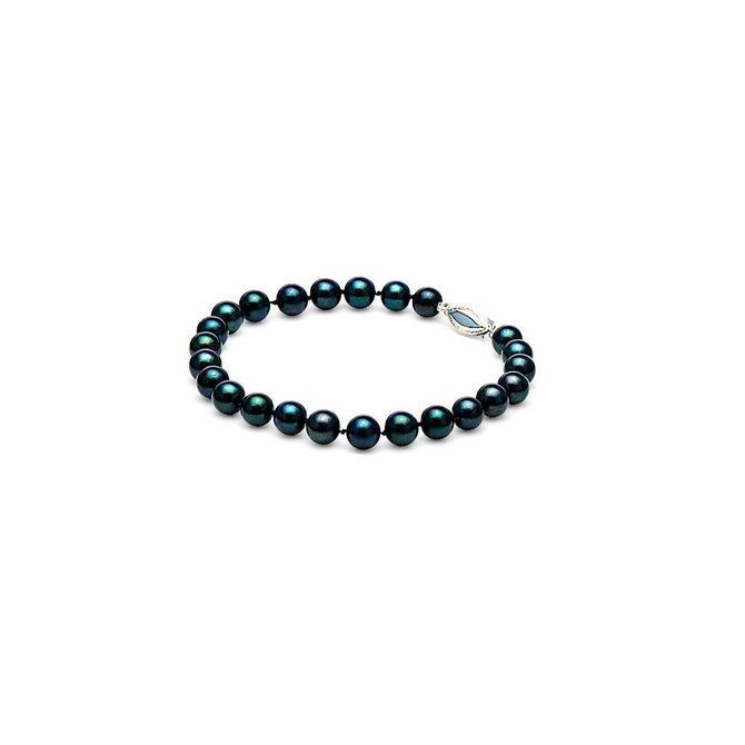 AA+ Quality Black Akoya Cultured Pearl Bracelet, 6.5-7.0mm