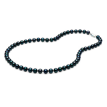 AA+ Quality Black Akoya Necklace, 6.0-6.5mm