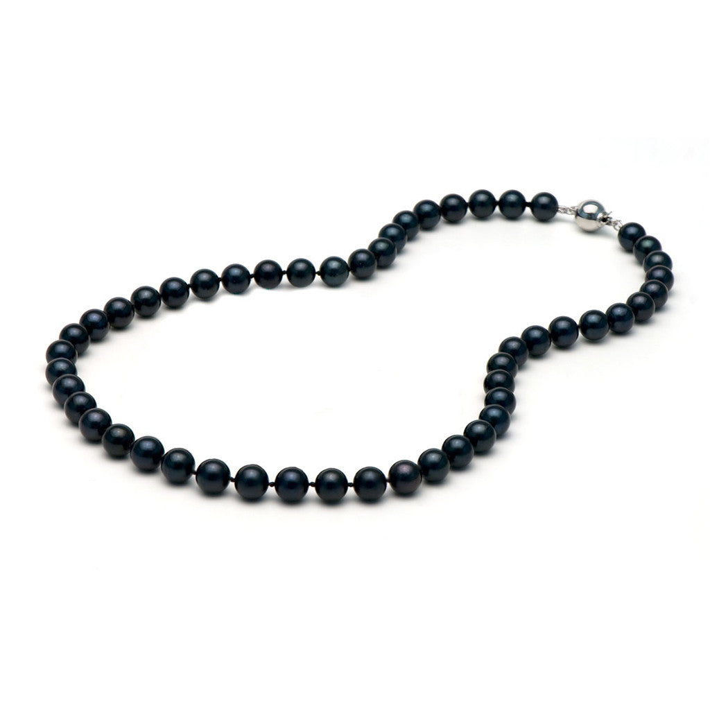 AA+ Quality 7.0-7.5mm Black Akoya Pearl Necklace