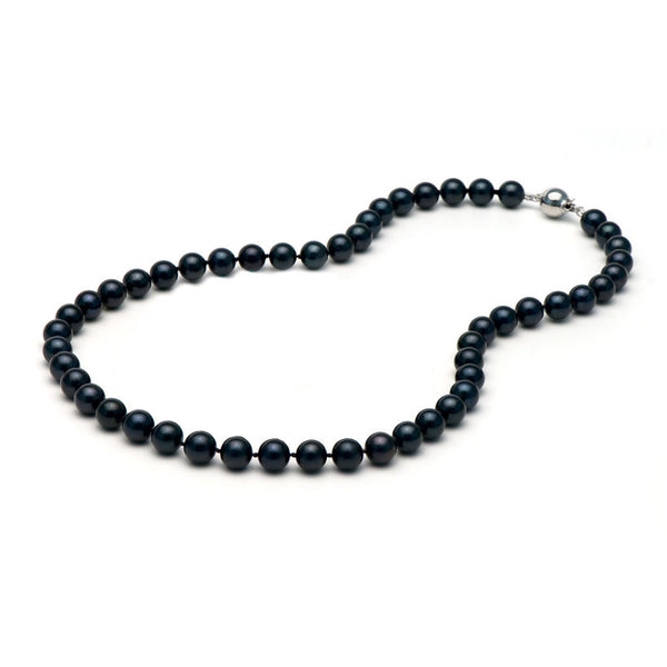 AA+ Quality 7.0-7.5mm Black Akoya Cultured Pearl Necklace