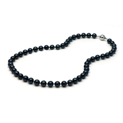 AA+ Quality 7.5-8.0mm Black Akoya Cultured Pearl Necklace
