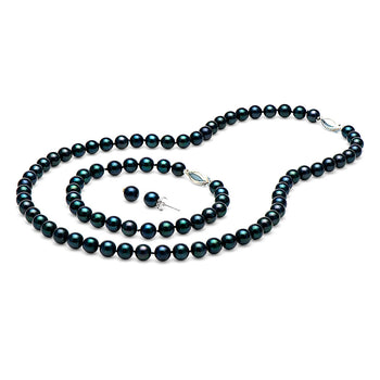 AA+ Quality Black Akoya Pearl Set, 6.5-7.0mm