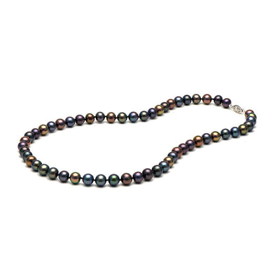 AAA Quality Black Freshwater Necklace, 7.5-8.0mm