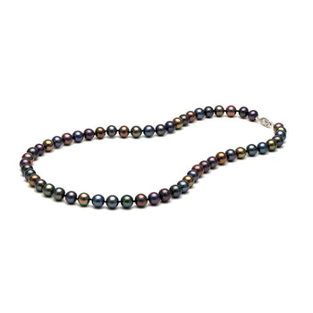 AA+ Quality Black Freshwater Necklace, 7.5-8.0mm