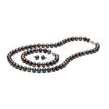 AA+ Quality 7.5-8.0mm Black Freshwater Cultured Pearl Set