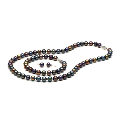 AA+ Quality 7.0-8.0mm Black Freshwater Cultured Pearl Set