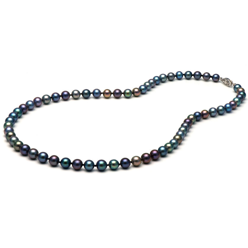 AA+ Quality 6.0-7.0mm Black Freshwater Cultured Pearl Necklace