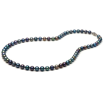AA+ Quality Black Freshwater Necklace, 6.5-7.0mm