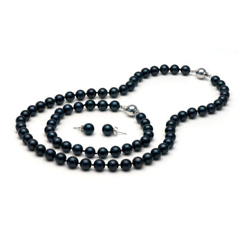 AA+ Quality Black Akoya Pearl Set, 7.0-7.5mm