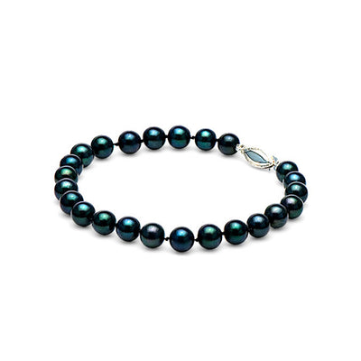 AA+ Quality Black Akoya Pearl Bracelet, 6.0-6.5mm