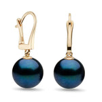 Black Akoya Dangle Earrings, 6.0-7.5mm