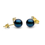 Diamond Accent Black Akoya Pearl Earrings, 6.0-7.5mm