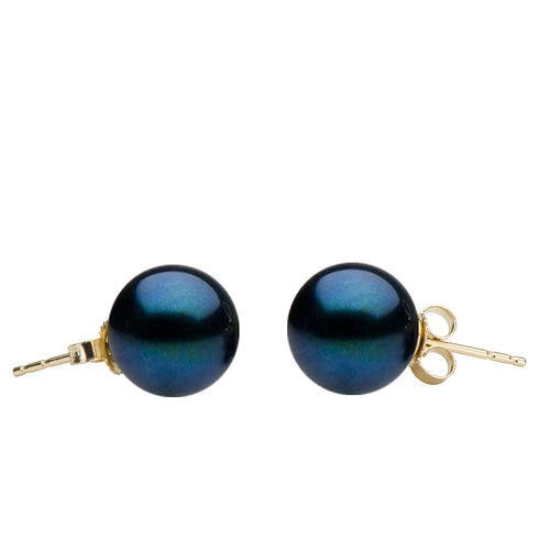AA+ Quality Black Akoya Stud Earrings, 6.0-7.5mm