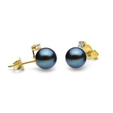 Diamond Accent Black Freshwater Pearl Earrings, 6.5-8.0mm