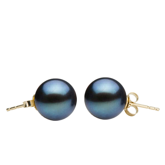 Black Freshwater Stud Earrings, 6.5-9.0mm