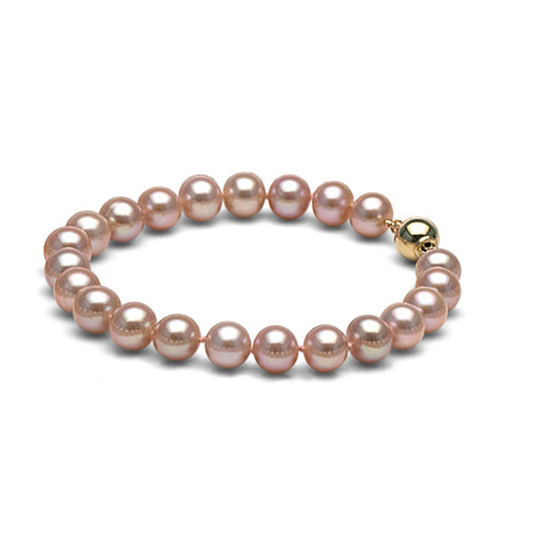 AAA Quality 8.0-9.0mm Lavender Freshwater Cultured Pearl Bracelet