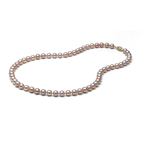 AAA Quality 6.0-7.0mm Natural Lavender Freshwater Cultured Pearl Necklace