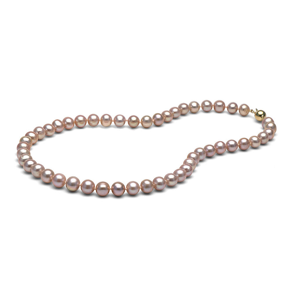 AAA Quality 8.0-9.0mm Lavender Freshwater Cultured Pearl Necklace