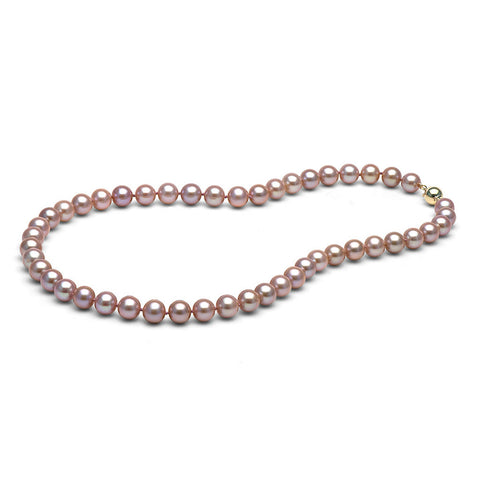 8.0-9.0mm Lavender Freshwater Gem Grade Pearl Necklace