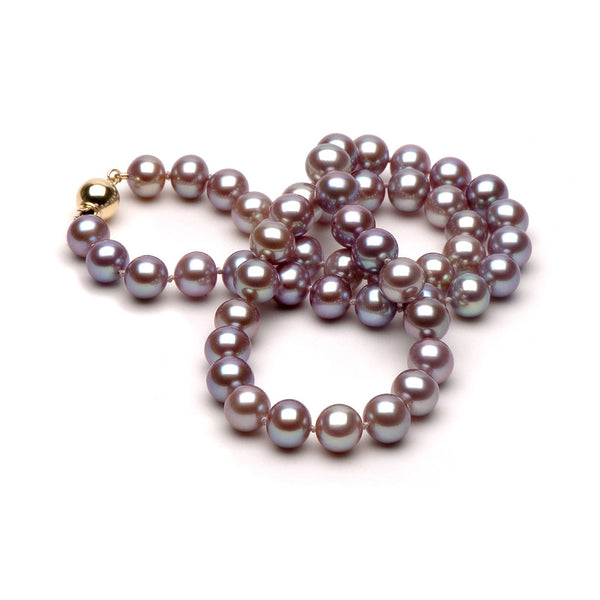 9.0-10.0mm Lavender Freshwater Gem Grade Pearl Necklace