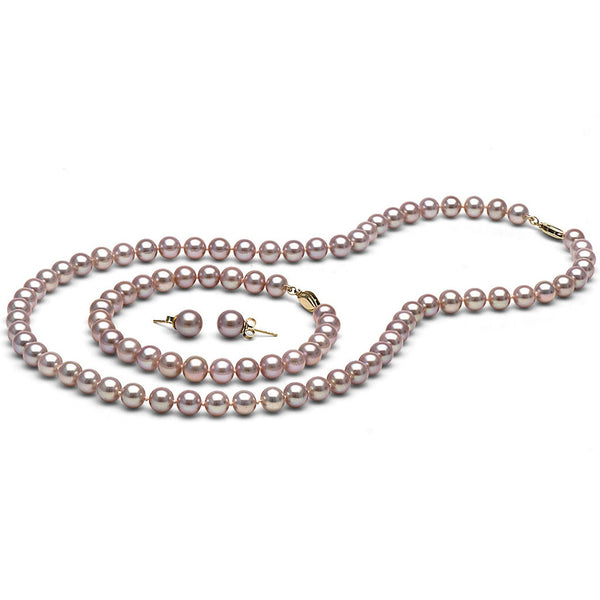 AAA Quality 6.0-7.0mm Lavender Freshwater Orient Pearl Set
