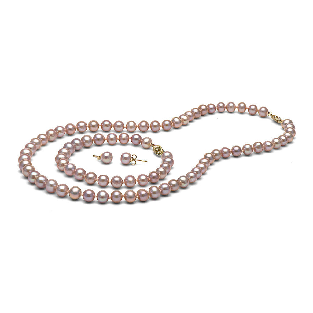 AAA Quality 7.5-8.0mm Lavender Freshwater Cultured Pearl Set