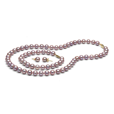 AAA Quality 7.0-8.0mm Lavender Freshwater Orient Pearl Set