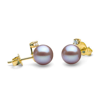 Diamond Accent Lavender Freshwater Pearl Earrings, 6.5-8.0mm