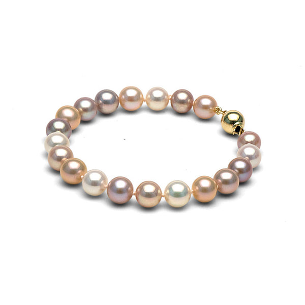 AAA Quality 8.0-9.0mm Multi-colored Freshwater Cultured Pearl Bracelet